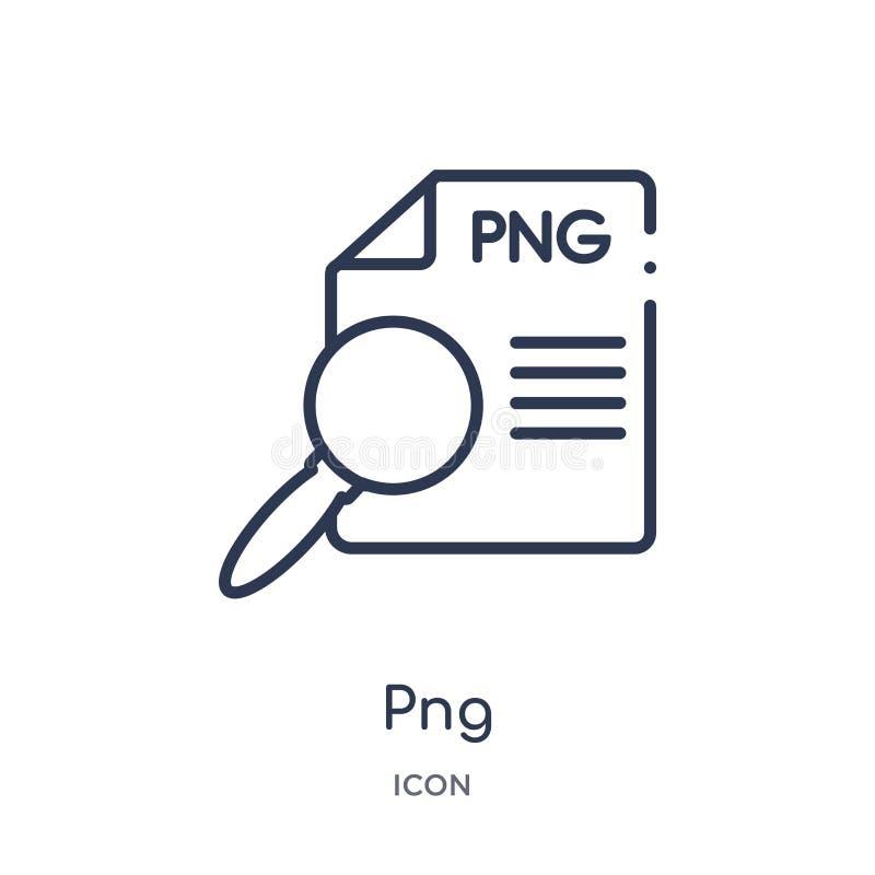 Icône linéaire de png de collection d'ensemble de type de fichier Ligne mince vecteur de png d'isolement sur le fond blanc illust illustration libre de droits