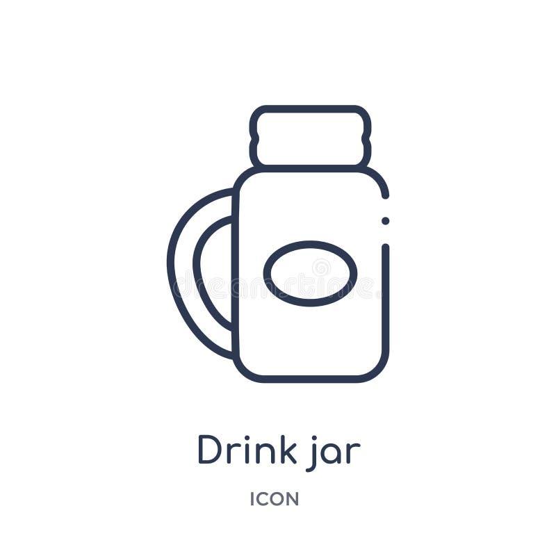 Icône linéaire de pot de boissons de collection d'ensemble de Bistros et de restaurant Ligne mince vecteur de pot de boissons d'i illustration stock