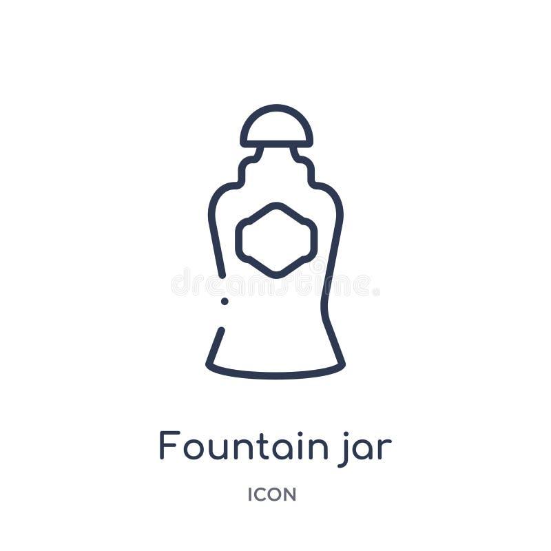 Icône linéaire de pot de fontaine de collection d'ensemble d'art Ligne mince icône de pot de fontaine d'isolement sur le fond bla illustration libre de droits