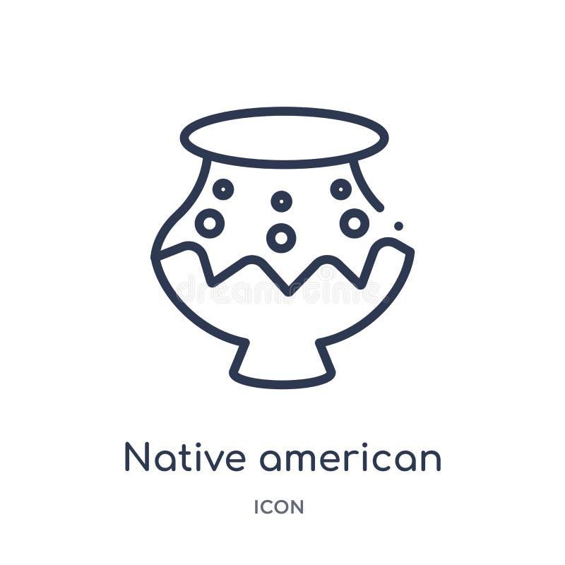 Icône linéaire de pot de natif américain de collection d'ensemble de culture Ligne mince vecteur de pot de natif américain d'isol illustration stock