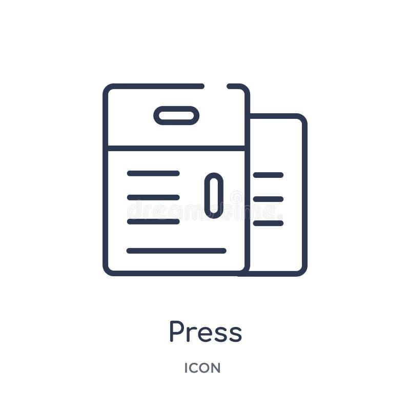 Icône linéaire de presse de collection d'ensemble d'industrie Ligne mince icône de presse d'isolement sur le fond blanc illustrat illustration de vecteur