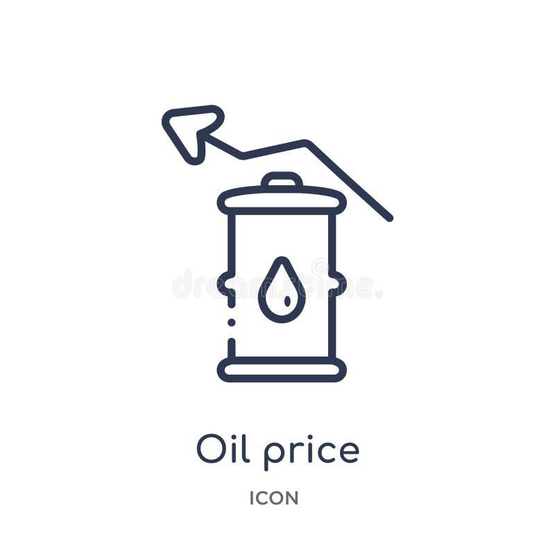 Icône linéaire de prix du pétrole de collection d'ensemble d'industrie Ligne mince icône de prix du pétrole d'isolement sur le fo illustration stock