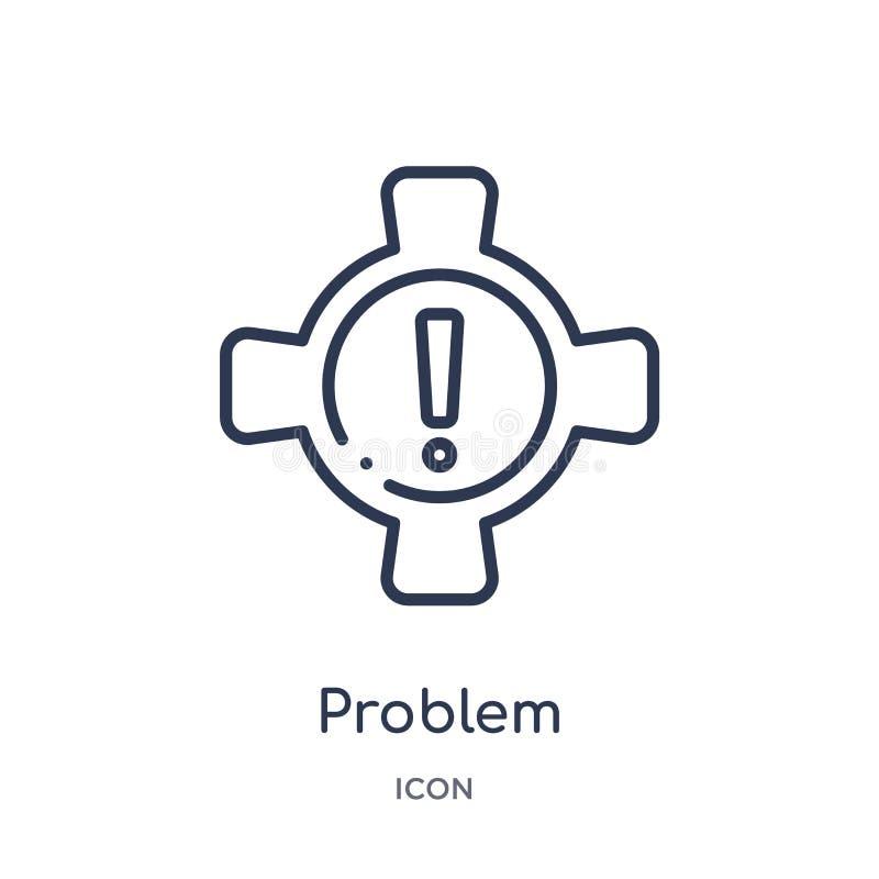 Icône linéaire de problème de collection d'ensemble de sécurité d'Internet Ligne mince icône de problème d'isolement sur le fond  illustration libre de droits