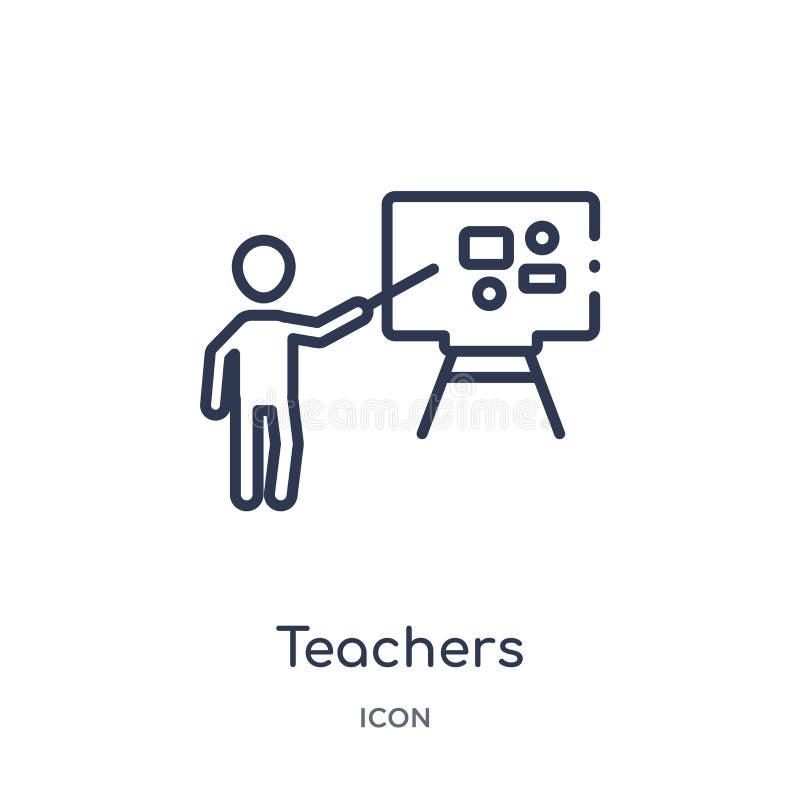 Icône linéaire de professeurs de collection d'ensemble d'humains Ligne mince icône de professeurs d'isolement sur le fond blanc p illustration de vecteur
