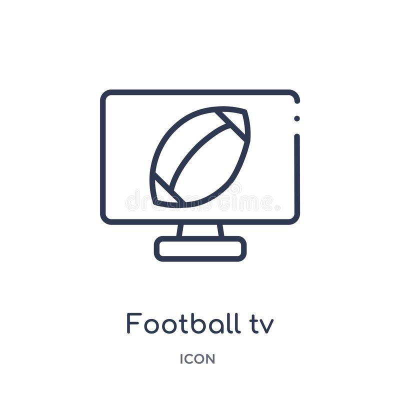 Icône linéaire de programme du football TV de collection d'ensemble de football américain Ligne mince vecteur de programme du foo illustration stock