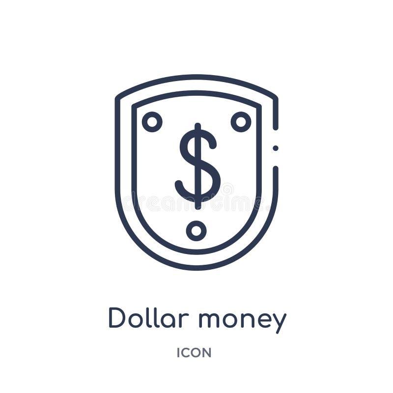 Icône linéaire de protection d'argent du dollar de collection d'ensemble d'affaires Ligne mince icône de protection d'argent du d illustration stock