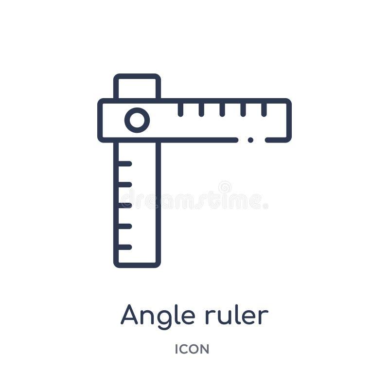 Icône linéaire de règle d'angle de collection d'ensemble de construction Ligne mince vecteur de règle d'angle d'isolement sur le  illustration stock
