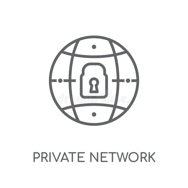 Icône linéaire de réseau privé Logo moderne de réseau privé d'ensemble illustration stock