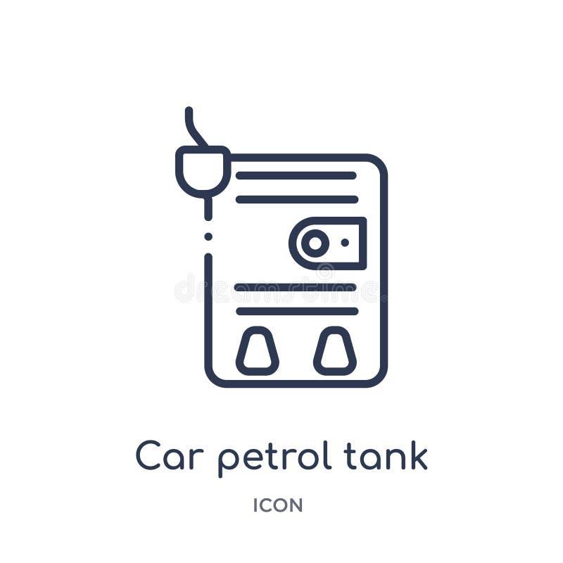 Icône linéaire de réservoir (d'essence) de voiture de collection d'ensemble de pièces de voiture Ligne mince vecteur de réservoir illustration libre de droits