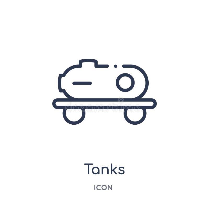 Icône linéaire de réservoirs de collection d'ensemble d'industrie Ligne mince icône de réservoirs d'isolement sur le fond blanc i illustration stock