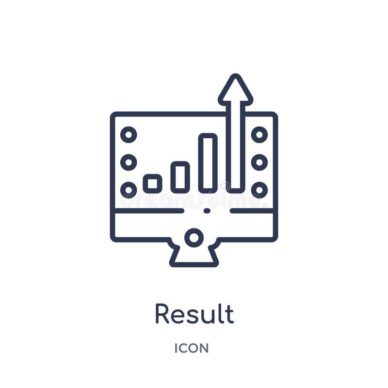Icône linéaire de résultat de la collection de commercialisation d'ensemble Ligne mince icône de résultat d'isolement sur le fond illustration libre de droits