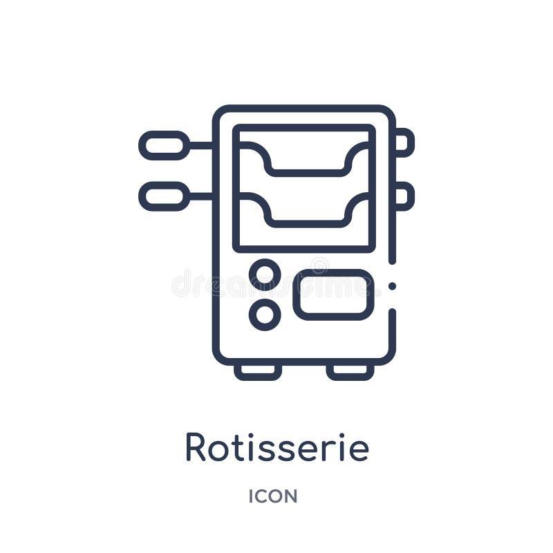 Icône linéaire de rôtissoire de collection d'ensemble d'appareils électroniques Ligne mince vecteur de rôtissoire d'isolement sur illustration libre de droits