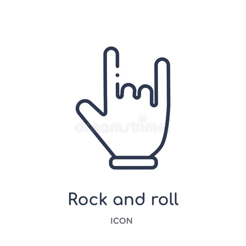 Icône linéaire de rock des mains et de la collection d'ensemble de guestures Ligne mince icône de rock d'isolement sur le fond bl illustration libre de droits
