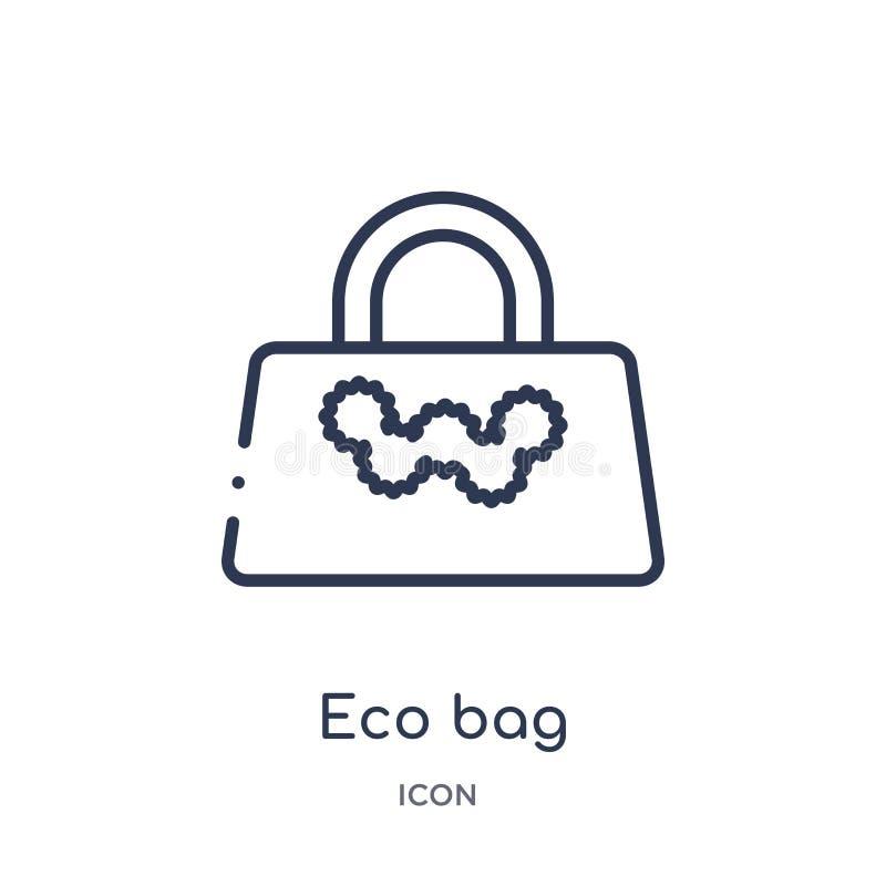 Icône linéaire de sac d'eco de collection d'ensemble d'écologie Ligne mince vecteur de sac d'eco d'isolement sur le fond blanc sa illustration libre de droits