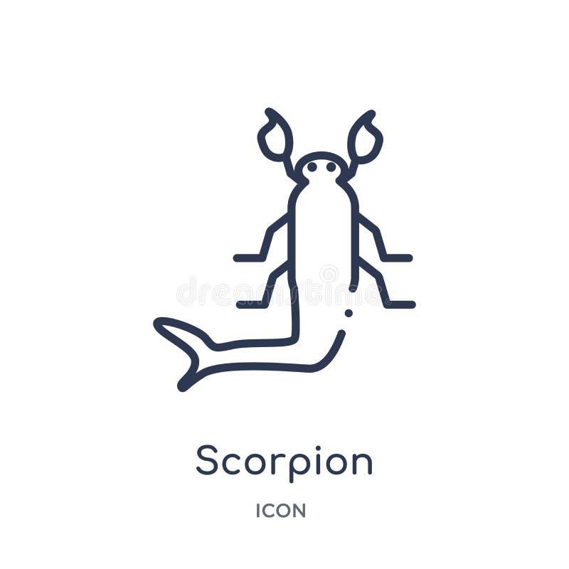 Icône linéaire de scorpion de collection d'ensemble de désert Ligne mince vecteur de scorpion d'isolement sur le fond blanc scorp illustration libre de droits