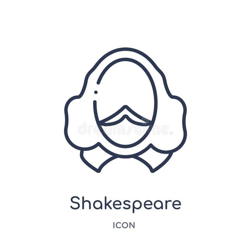 Icône linéaire de shakespeare de collection d'ensemble d'éducation Ligne mince vecteur de shakespeare d'isolement sur le fond bla illustration de vecteur