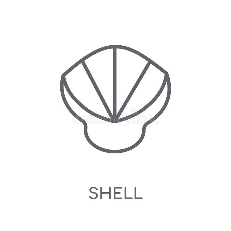 Icône linéaire de Shell Concept moderne de logo de Shell d'ensemble sur le Ba blanc illustration de vecteur