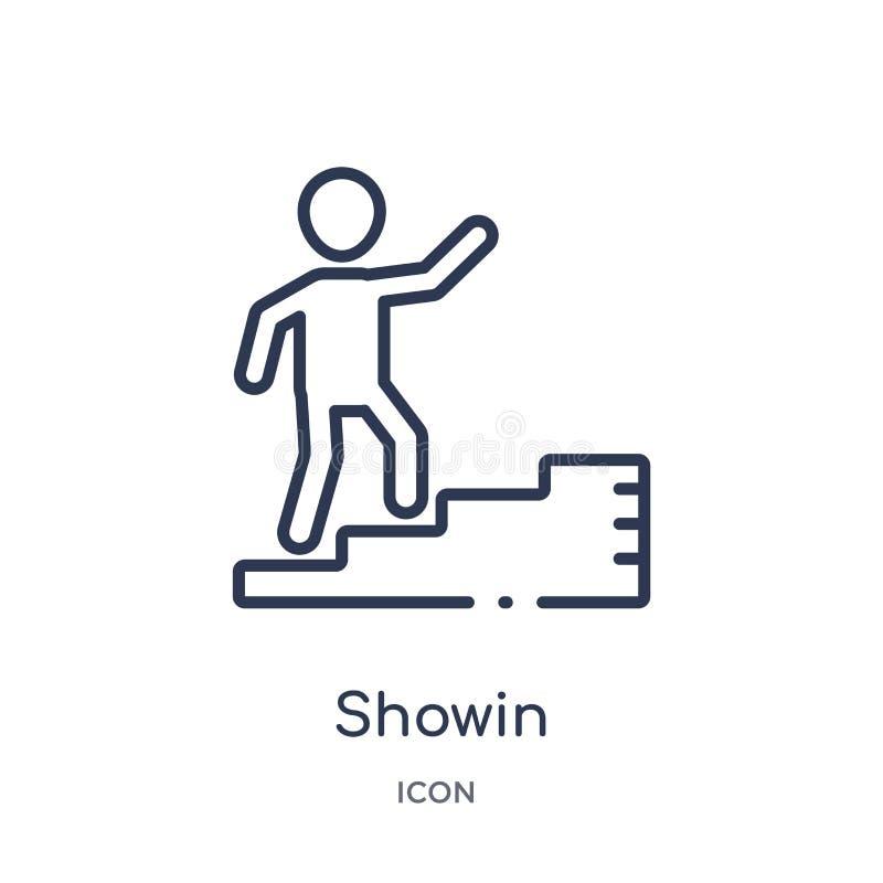 Icône linéaire de showin de collection d'ensemble d'humains Ligne mince icône de showin d'isolement sur le fond blanc illustratio illustration de vecteur