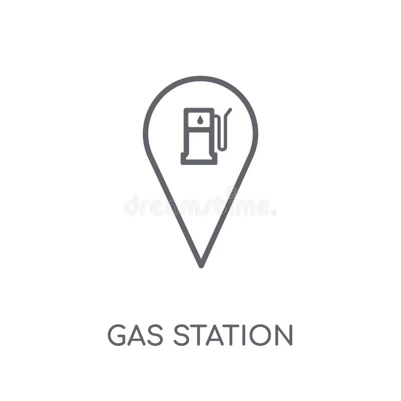 Icône linéaire de signe de station service Lo moderne de signe de station service d'ensemble illustration libre de droits