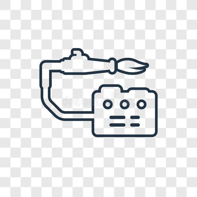 Icône linéaire de soudure de vecteur de concept d'isolement sur le backg transparent illustration stock