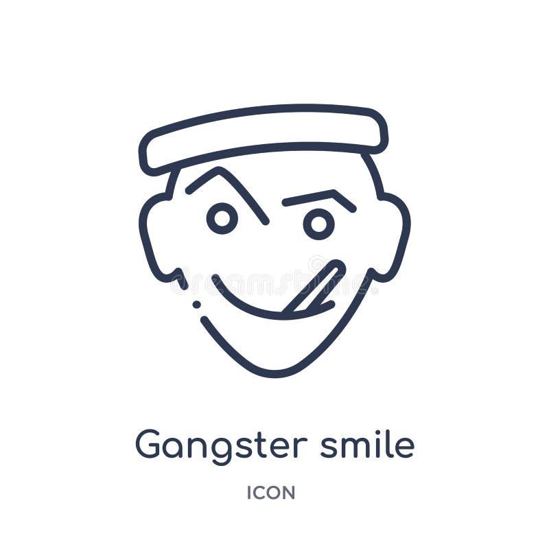 Icône linéaire de sourire de bandit de collection d'ensemble d'Emoji Ligne mince vecteur de sourire de bandit d'isolement sur le  illustration stock