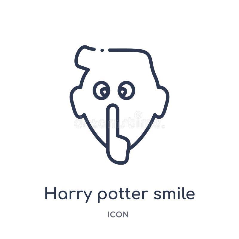 Icône linéaire de sourire de Harry Potter de collection d'ensemble d'Emoji Ligne mince vecteur de sourire de Harry Potter d'isole illustration stock
