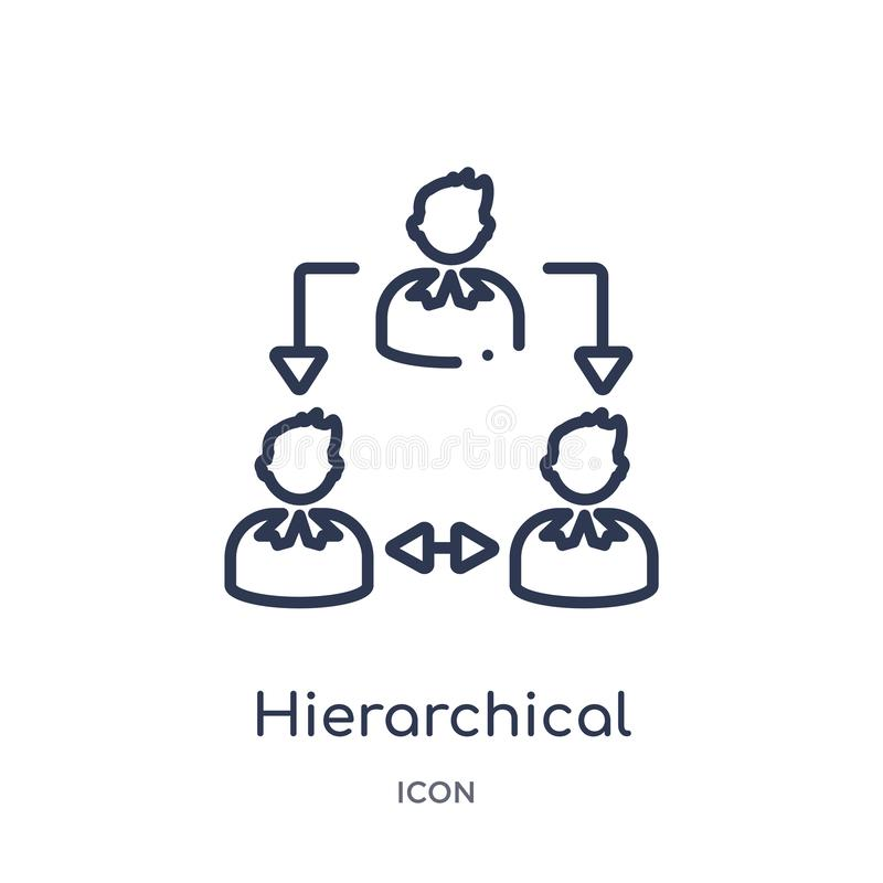 Icône linéaire de structure hiérarchisée de collection d'ensemble d'économie de Digital Ligne mince vecteur de structure hiérarch illustration stock