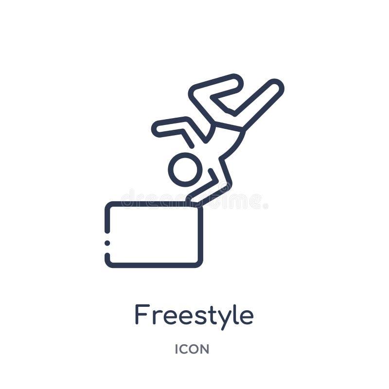 Icône linéaire de style libre d'activité et de collection d'ensemble de passe-temps Ligne mince vecteur de style libre d'isolemen illustration stock