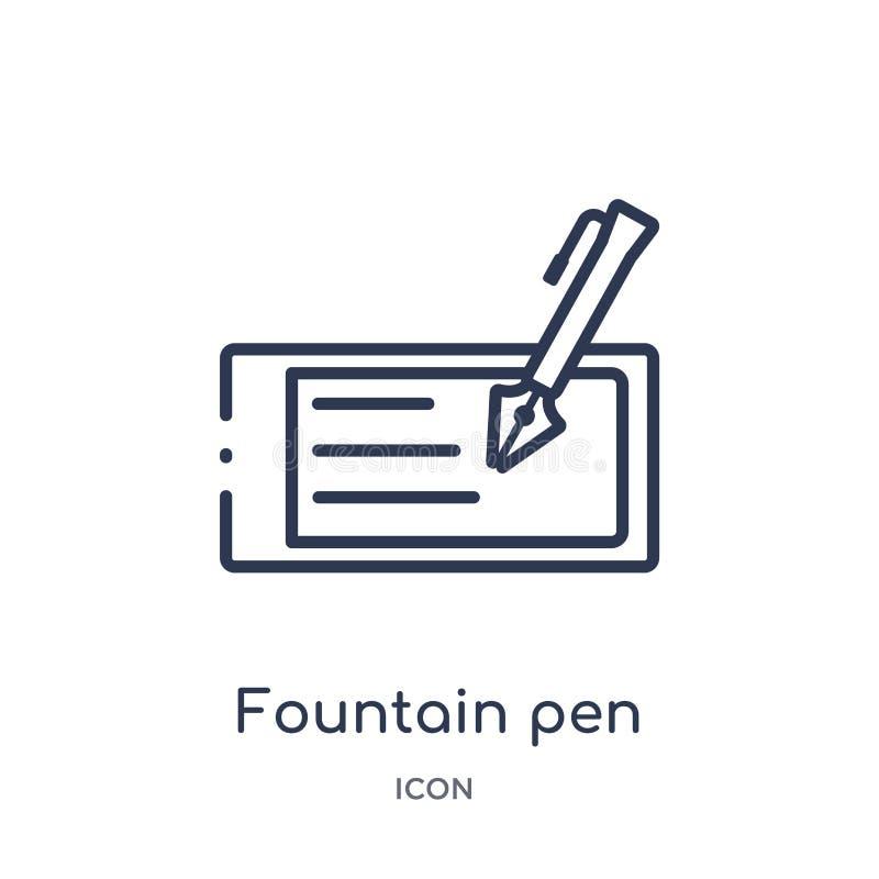 Icône linéaire de stylo-plume de collection d'ensemble d'Elearning et d'éducation Ligne mince vecteur de stylo-plume d'isolement  illustration de vecteur