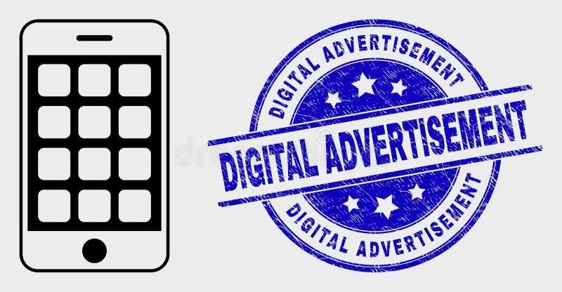 Icône linéaire de téléphone portable de vecteur et affliger le filigrane de publicité de Digital illustration de vecteur