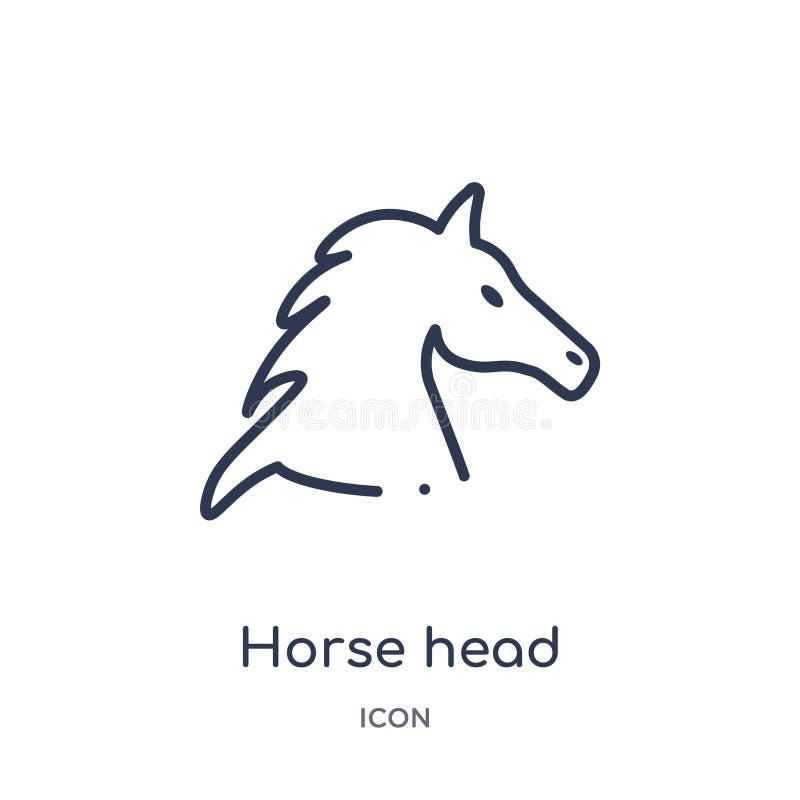 Icône linéaire de tête de cheval de collection d'ensemble de culture Ligne mince vecteur de tête de cheval d'isolement sur le fon illustration de vecteur