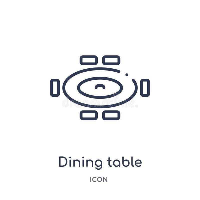 Icône linéaire de table de salle à manger de collection d'ensemble de meubles et de ménage Ligne mince icône de table de salle à  illustration libre de droits