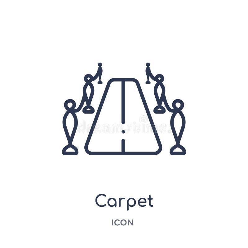 Icône linéaire de tapis de collection d'ensemble de cinéma Ligne mince vecteur de tapis d'isolement sur le fond blanc tapis à la  illustration libre de droits