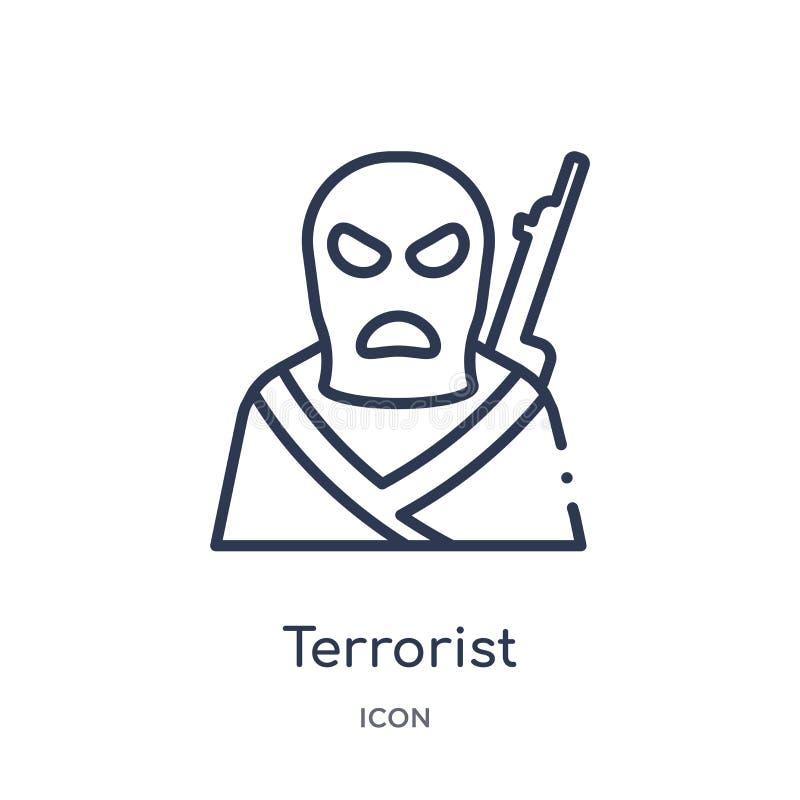Icône linéaire de terroriste de collection d'ensemble d'assurance Ligne mince icône de terroriste d'isolement sur le fond blanc t illustration de vecteur