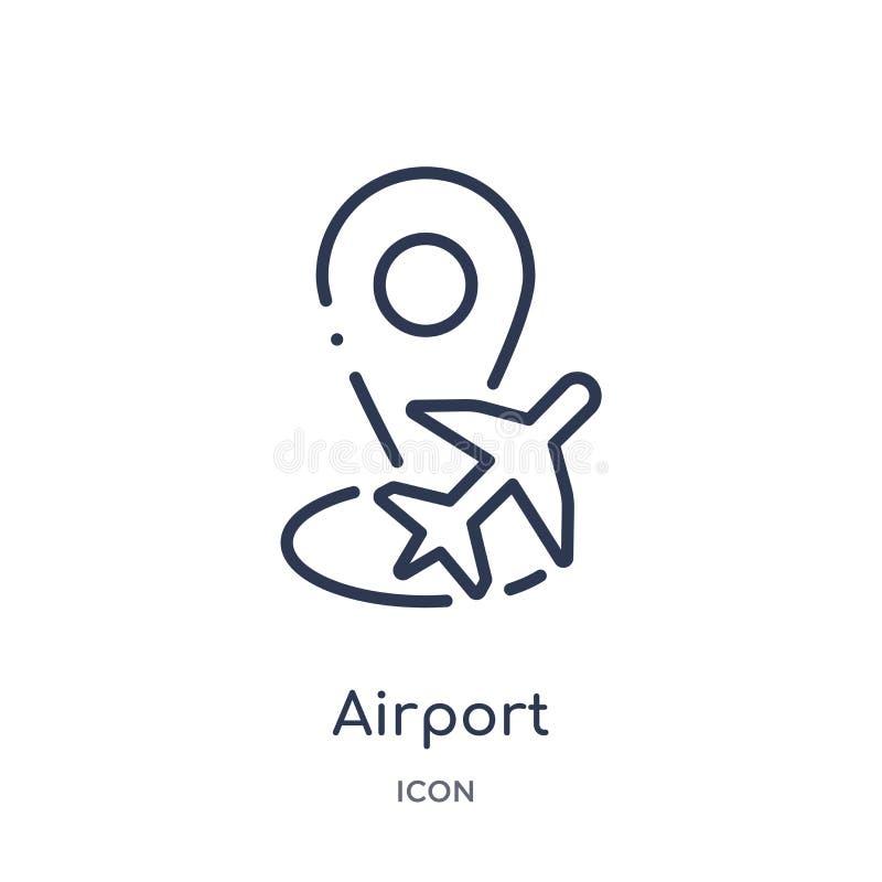 Icône linéaire de texte d'attente d'aéroport de collection d'ensemble de terminal d'aéroport Ligne mince vecteur de texte d'atten illustration libre de droits