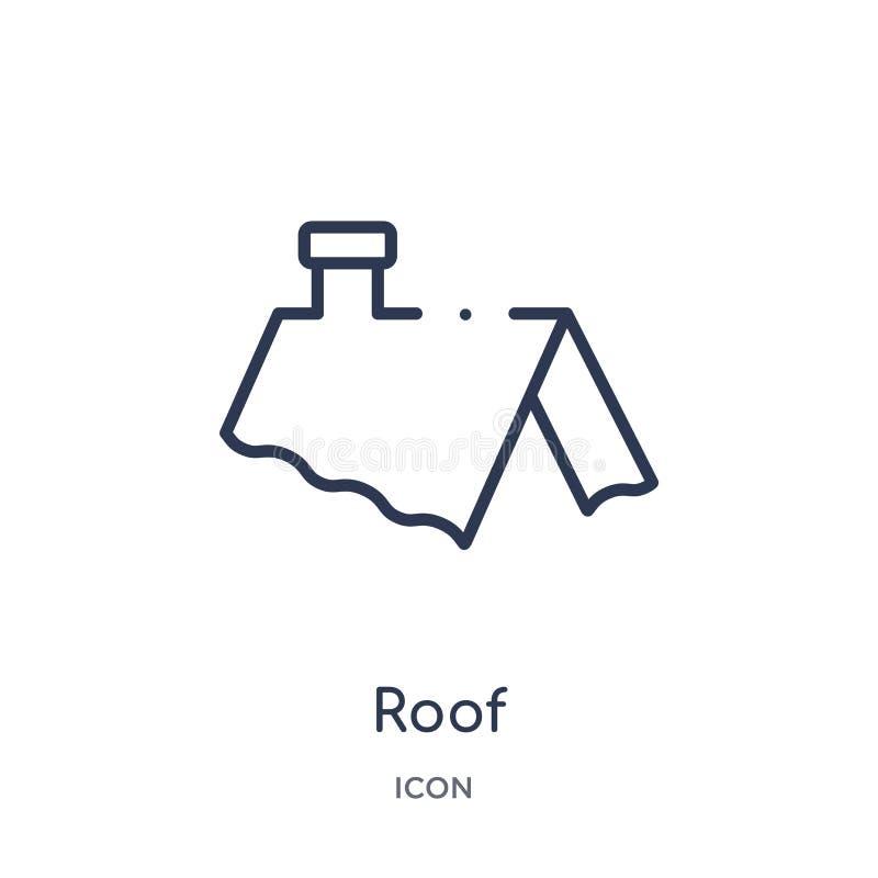 Icône linéaire de toit de collection d'ensemble d'outils de construction Ligne mince vecteur de toit d'isolement sur le fond blan illustration de vecteur