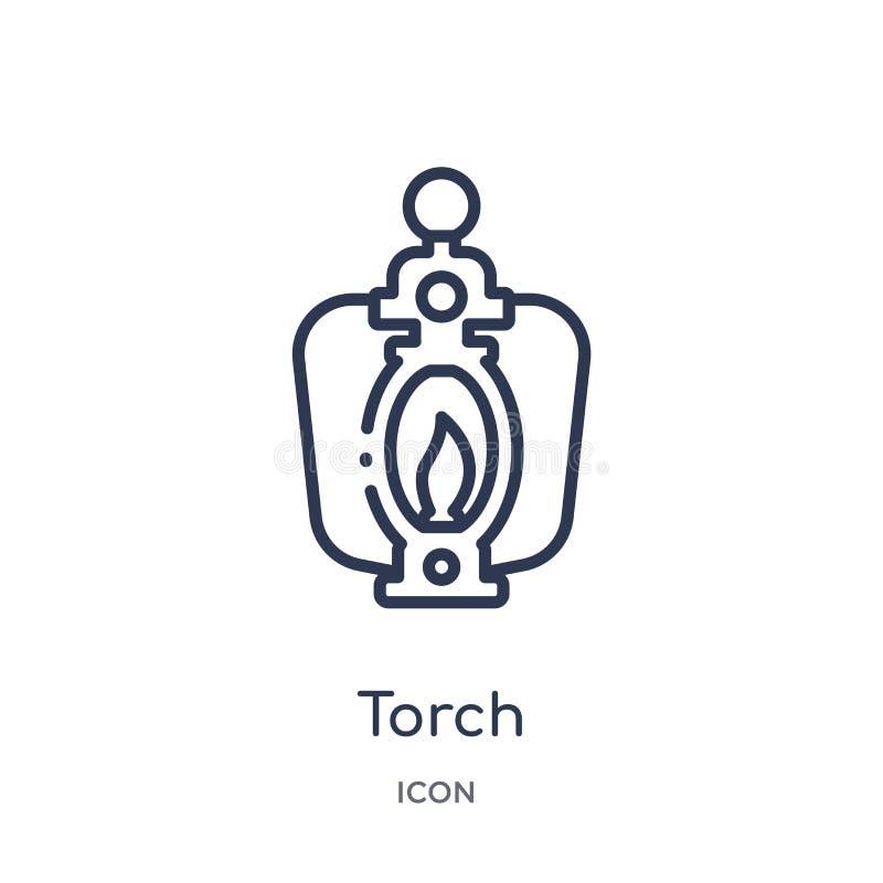 Icône linéaire de torche de la collection campante d'ensemble Ligne mince vecteur de torche d'isolement sur le fond blanc illustr illustration de vecteur