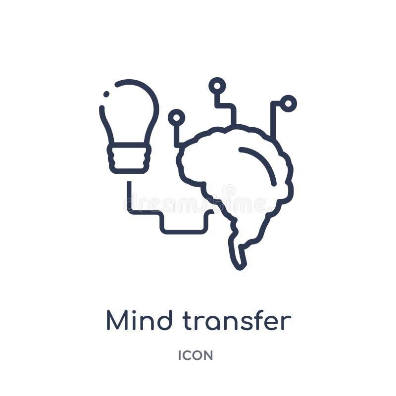 Icône linéaire de transfert d'esprit d'intellegence artificiel et de future collection d'ensemble de technologie Ligne mince vect illustration de vecteur