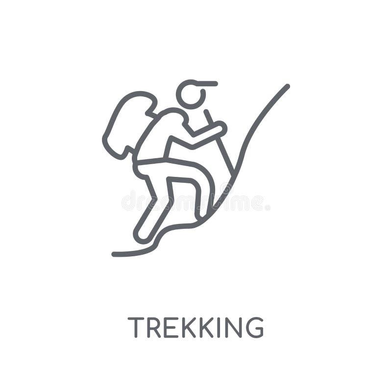 Icône linéaire de trekking Concept moderne de logo de trekking d'ensemble sur le wh illustration libre de droits