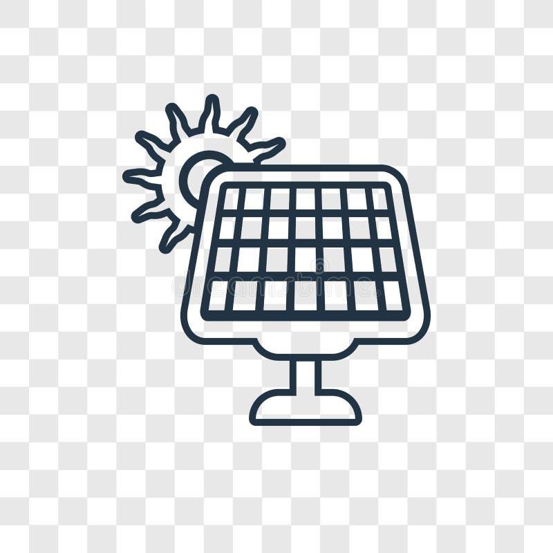 Icône linéaire de vecteur à énergie solaire de concept d'isolement sur transparent illustration stock