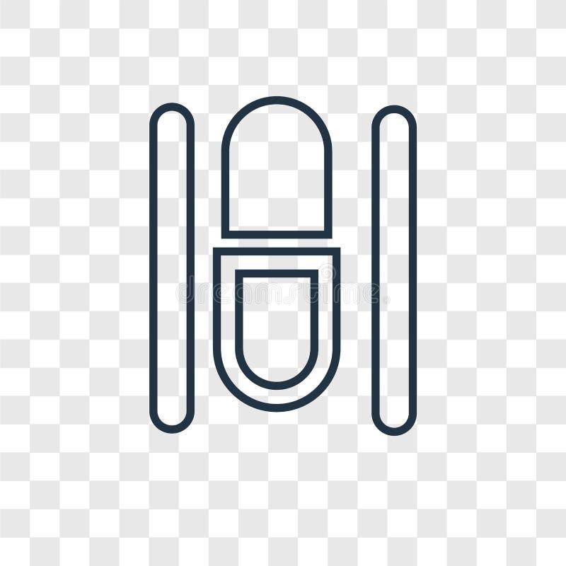 Icône linéaire de vecteur de concept de capsule d'isolement sur le backg transparent illustration stock