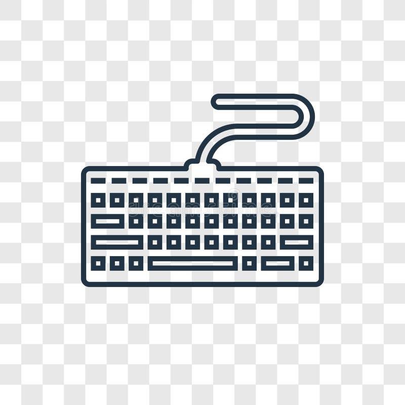 Icône linéaire de vecteur de concept de clavier d'isolement sur le dos transparent illustration libre de droits