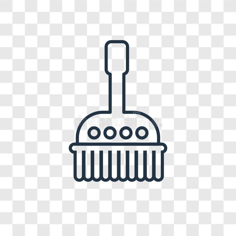Icône linéaire de vecteur de concept de cleanin de brosse d'isolement sur transparent illustration de vecteur