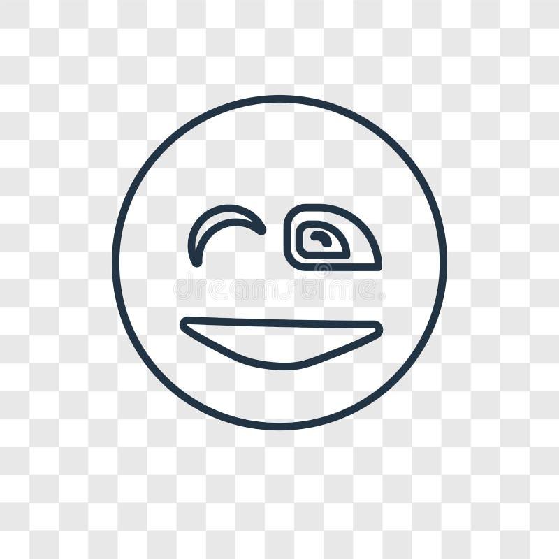 Icône linéaire de vecteur de concept de clin d'oeil d'isolement sur le backgrou transparent illustration de vecteur