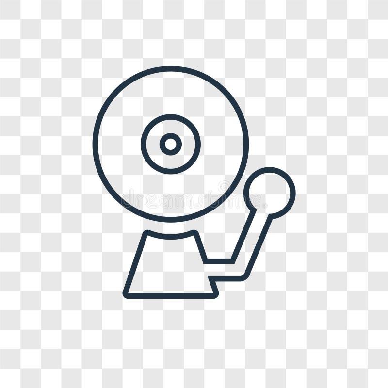 Icône linéaire de vecteur de concept de cloche d'école sur b transparent illustration de vecteur