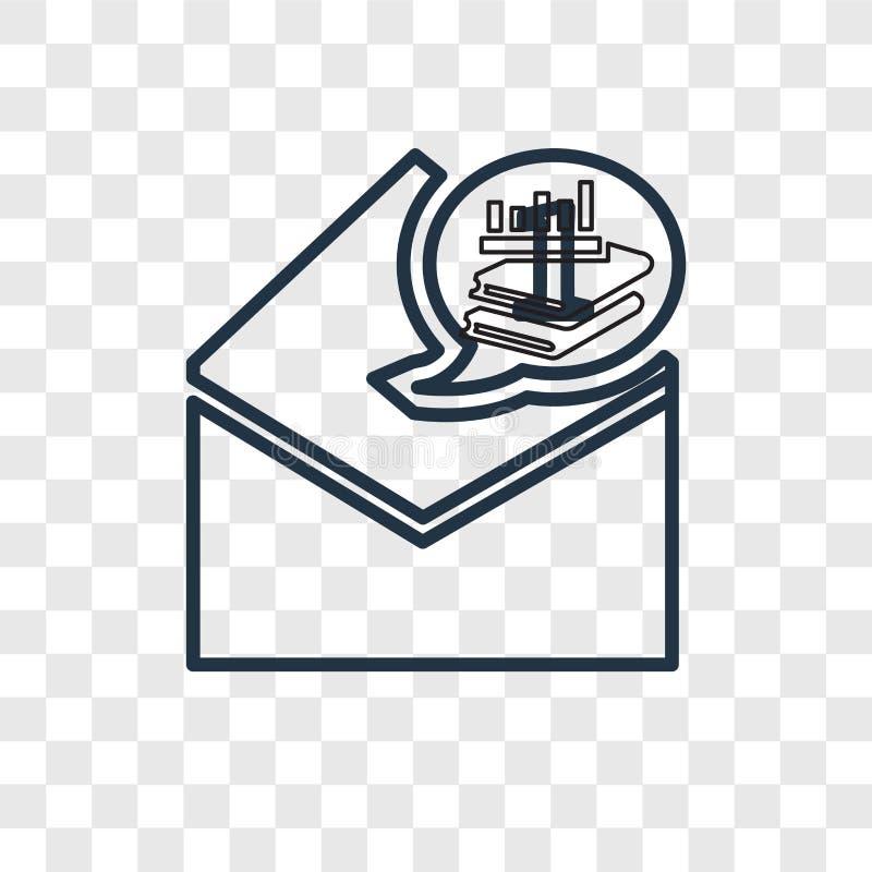 Icône linéaire de vecteur de concept de courrier d'isolement sur le backgrou transparent illustration stock