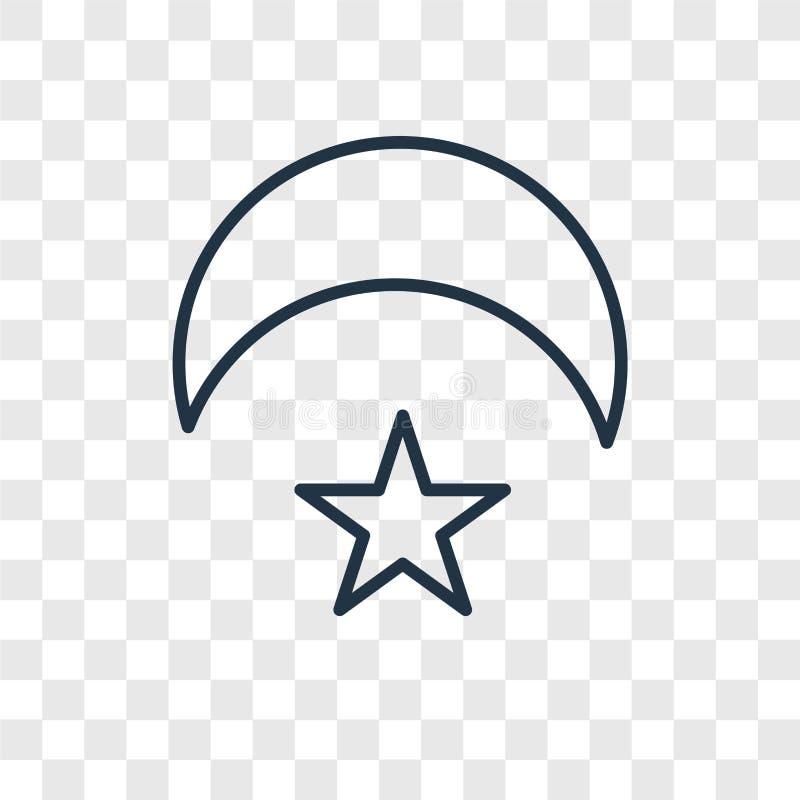 Icône linéaire de vecteur de concept de Crescent Moon et d'étoile d'isolement sur le TR illustration de vecteur