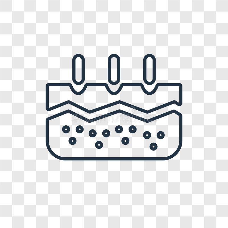 Icône linéaire de vecteur de concept d'épiderme d'isolement sur le CCB transparent illustration de vecteur