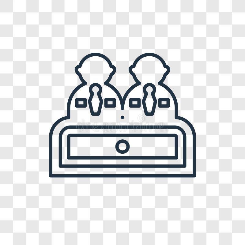 Icône linéaire de vecteur de concept d'entrevue d'isolement sur le CCB transparent illustration stock