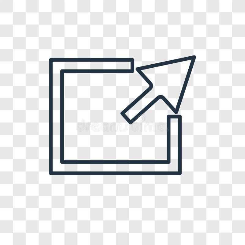 Icône linéaire de vecteur de concept d'exportation d'isolement sur le backgr transparent illustration libre de droits